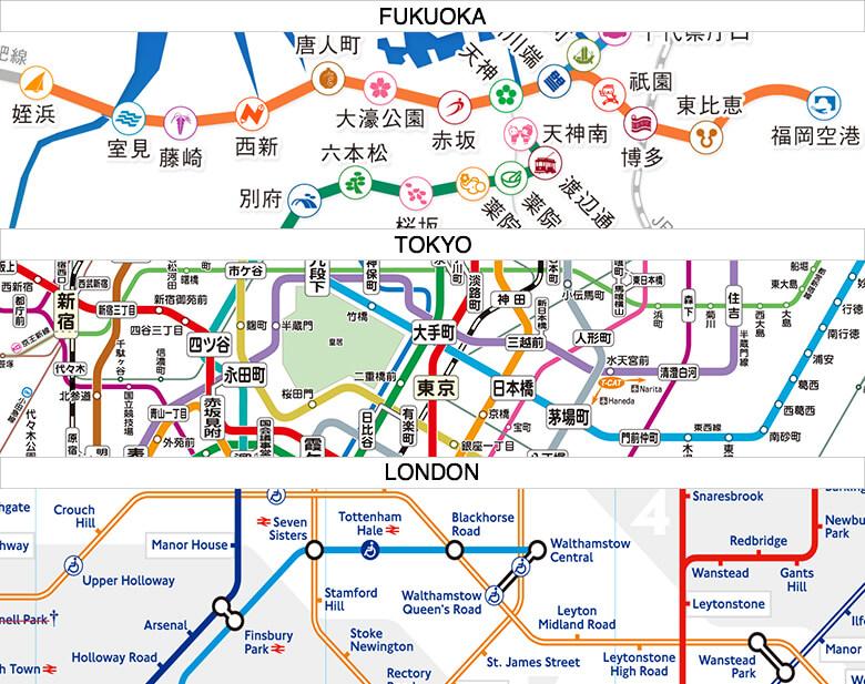 福岡市交通局 公式サイト、東京メトロ 公式サイト、Transport for London 公式サイト