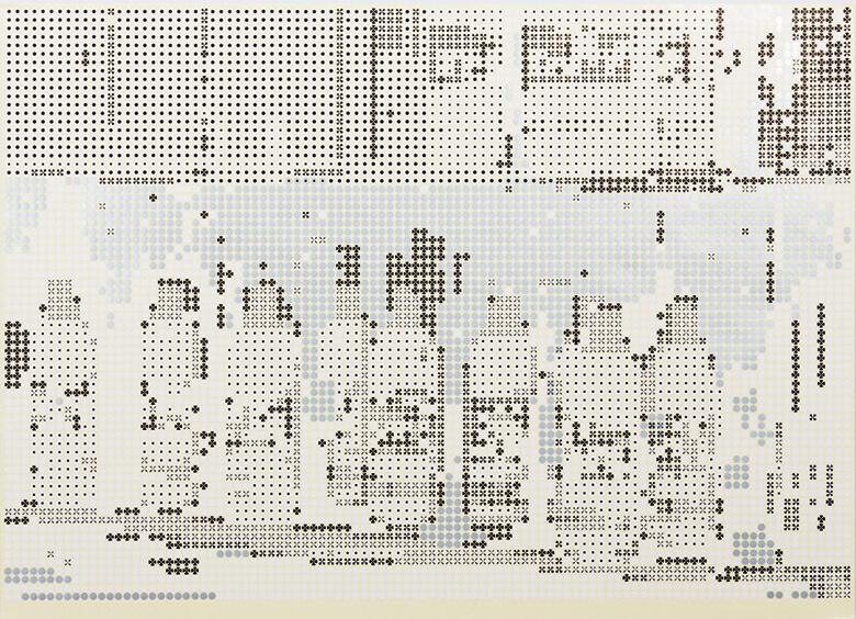 シールで構成されたアートワーク《implosion←→explosion》(2015) R.Uehara