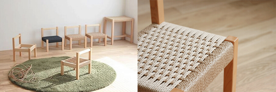 世界にひとつの椅子をつくる「キッズチェアの座編みワークショップ」