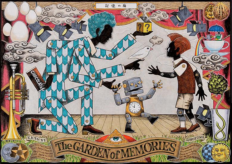 『記憶の庭』(2014) W:427mm×H:302mm  イラストレーションボード/マーカー