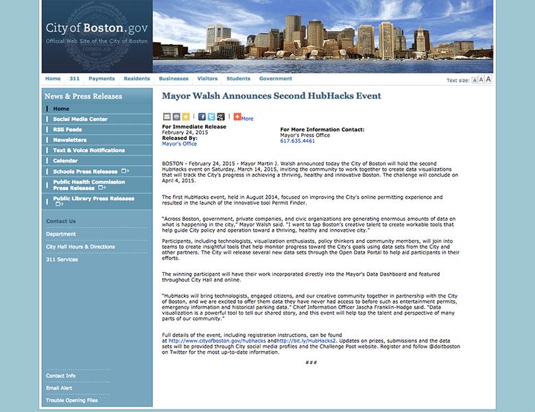ボストン市の以前のWebサイト 引用元:CITY OF BOSTON DIGITAL INITIATIVES 公式サイト