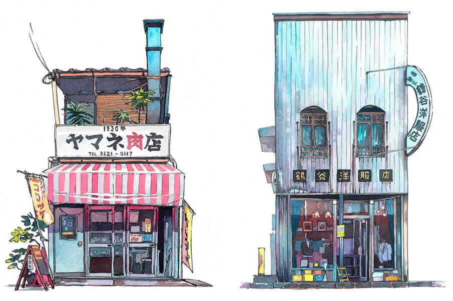 東京の記録。水彩画で描かれた「Tokyo Storefront シリーズ」