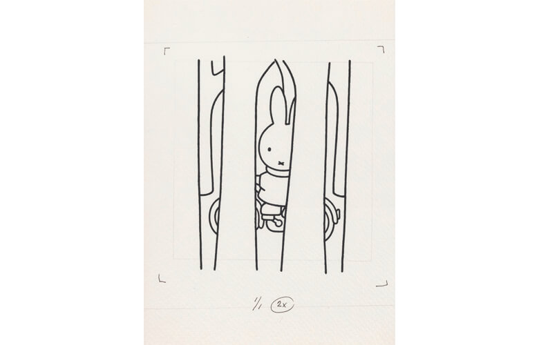 『うさこちゃんとじてんしゃ』原画  絵本 1982年 Illustrations Dick Bruna ©️ copyright Mercis bv,1953-2017  www.miffy.com