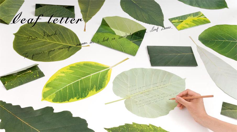 """1枚の葉っぱにメッセージを綴る。""""人と人"""" """"人と自然""""の距離を近づける「leaf letter」"""
