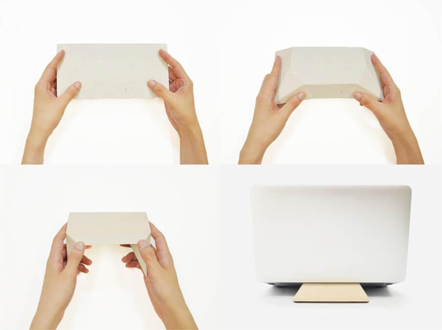手漉き和紙から生まれた、折り紙のように組み立てるモバイルスタンド